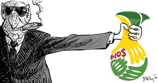6784013676c53 Corrupção e violações de direitos humanos para atender às exigências da  FIFA. Charge de Dalcio